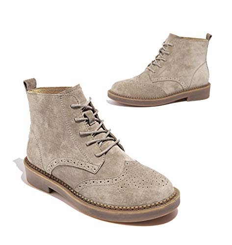 Booties Ankle Joymod Brogues MGM Women's Stitching Brown Wingtip up Comfort Martin Office Sand Perforated Dress Work Lace 6RFgFqxO