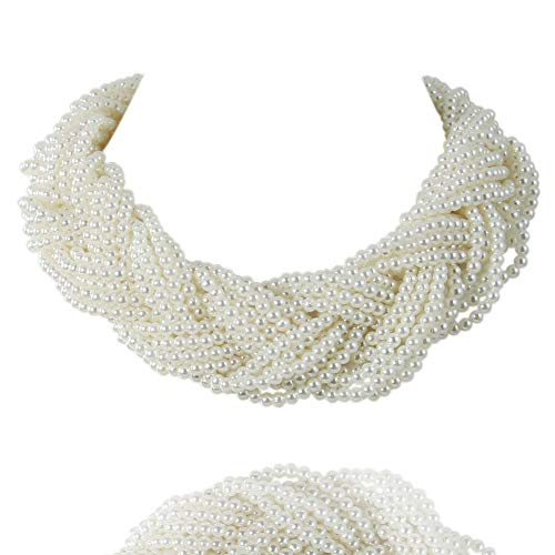 Kalse Simulated Pearl White Beads Cluster Statement Chunky Bib Short Choker Necklace 15 16 17 inch