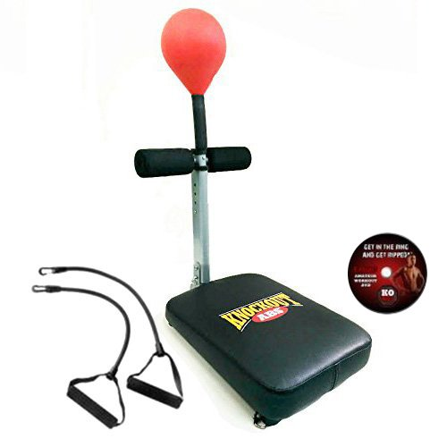 KnockOut Abs® Anti stress speed punching bag with sit up bench for an intense ab workout