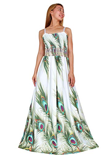 Maxi Dress Plus Size White Wedding Guest Party Long Sleeveless Special Occasion (4X(Length 58 inches), White/Green Peacock Print)