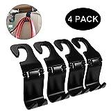 Fourcase 4Pack Car Vehicle Hook Back Headrest Hooks,Universal Car Seat Hanger Holder Hook Organizer for Bag Purse Handbag Cloth,Black