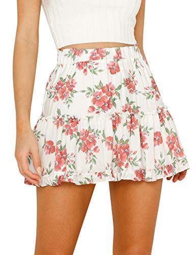 Uaneo Women's Boho Elastic Waist Floral Print Chiffon A Line Beach Mini Skirts (White, Small)
