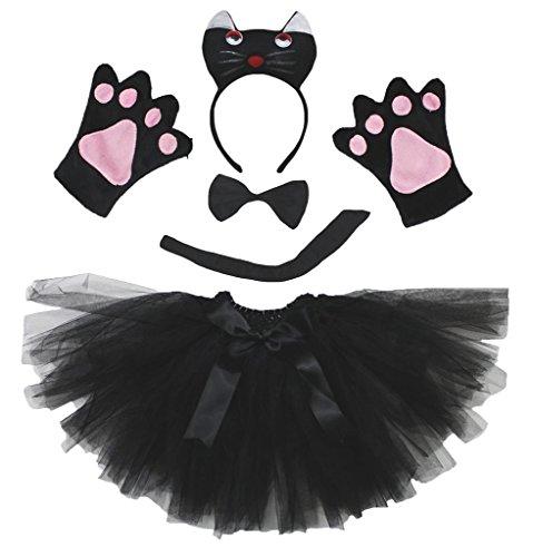 Petitebella 3D Black Cat Headband Bowtie Tail Gloves Tutu 5pc Lady Costume (One Size)