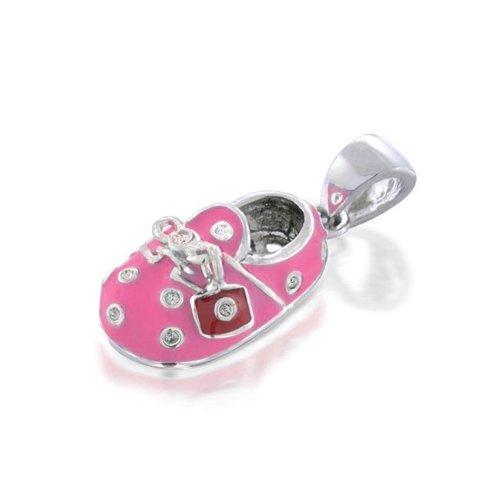 Pink Enamel Sterling Silver CZ Baby Shoe Pendant