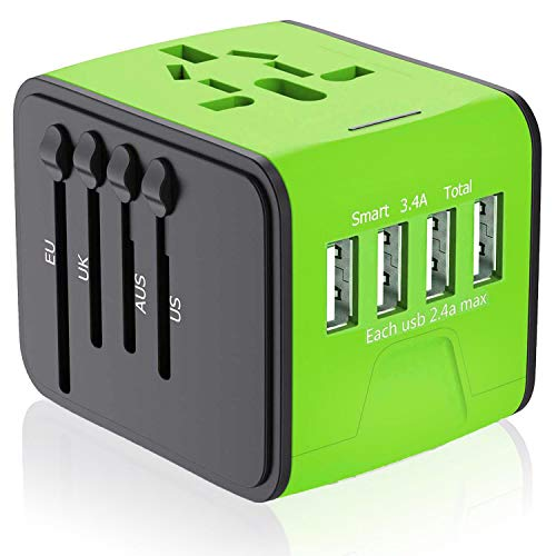 APzek Universal Travel Adapter, International Power Adapter with 4 USB Ports, European Adapter, Universal Power Adapter Worldwide AC Outlet Plugs Travel Charger for Europe UK US AU Asia