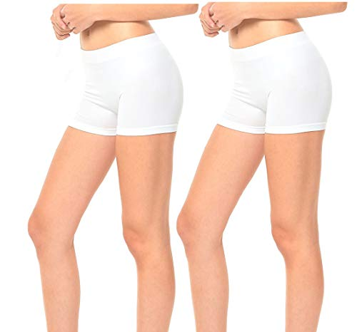 Gilbins 2 Pack Women's Seamless Stretch Yoga Exercise Shorts White -