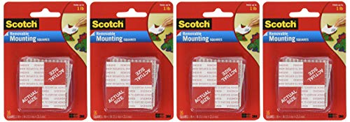 (Scotch(R) Removable Mounting Squares , 1 x 1 Inches, 16 squares ,Grey, 4-PACK)