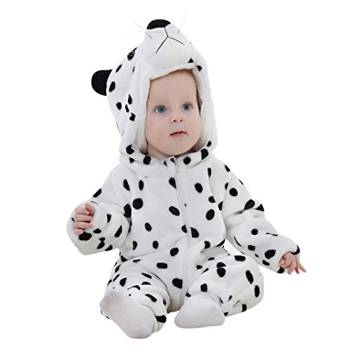 Animal Hoodie Child Leopard (Newborn Baby Boys Girls Animal Snow Leopard Cartoon Hoodie Rompers Outfits Clothes (24M, White))