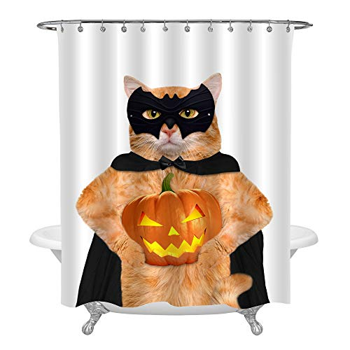 MitoVilla Cat in Black Costume with Halloween Pumpkin Shower Curtain Set with Hooks for Shower Stall, Funny Bathroom Accessories for Halloween Home Decorations, 72