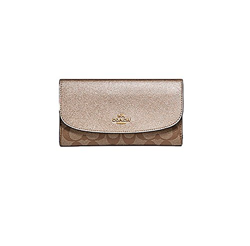 Coach Pebbled Leather Checkbook Wallet Clutch F57319 Khaki Platinum by Coach (Image #2)