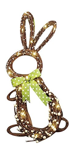 """Whimsical Country Grapevine Twigs Decorative 25"""" LED Lighted Cordless Battery Operated Easter Bunny Springtime Door Hanging Wreath Wall Decor Clear Lights Green Polka Dot Bow Tie Adorable Spring Home Accent Decoration"""