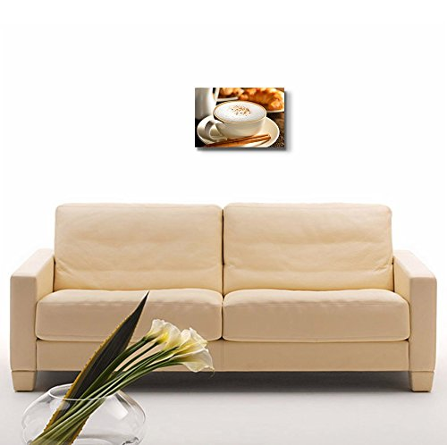 a Cup of Cappuccino and Croissant Wall Decor