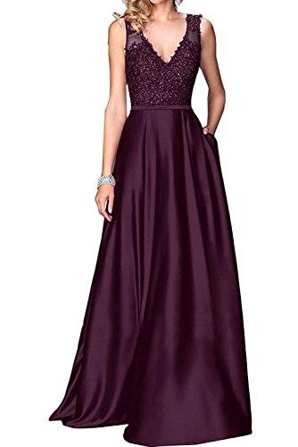 2017 Abendkleider Promkleider Langes Braut Marie V Abiballkleider Satin Weinrot La Lila Ausschnitt Spitze Ballkleider qp7T8c