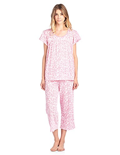 Casual Nights Women's Short Sleeve Capri Pajama Set - Floral/Pink - XX-Large