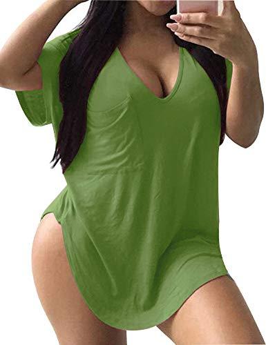 Allegrace Womens Casual Scoop Collar Plus Size T Shirts Summer Tops Tee Avocado Green - Scoop Pocket Tee