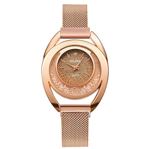 Bravetoshop Women Watches,Crystal Accented Magnetic Buckle Mesh Belt Rose Gold Quartz Bracelet Waistwatch(A)