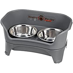 Neater Feeder Express (Medium to Large Dog. Gunmetal) - with Stainless Steel, Drip Proof, No Tip and Non Slip Dog Bowls and Mess Proof Pet Feeder
