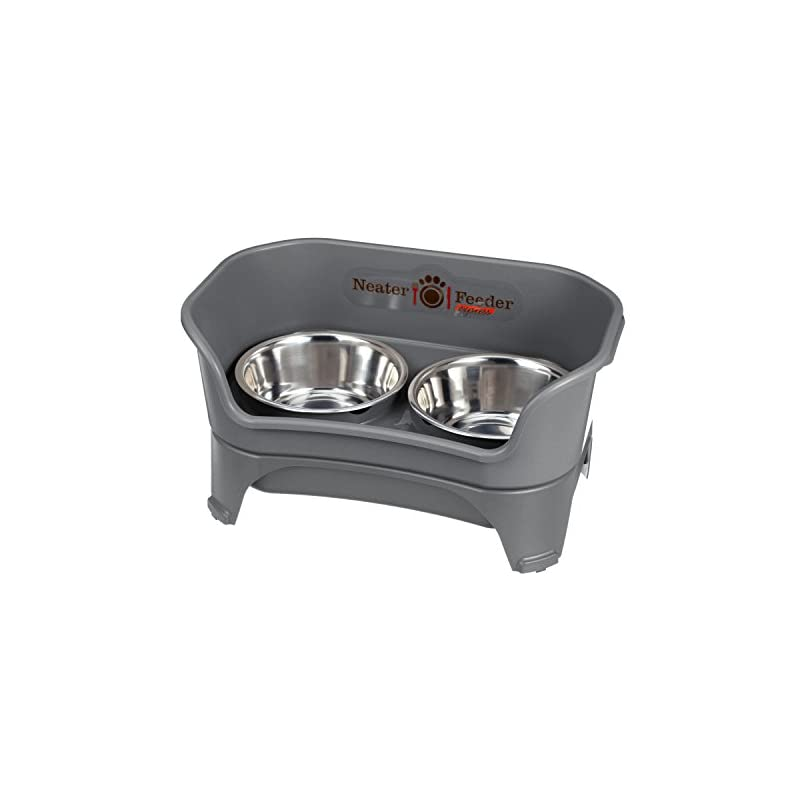 dog supplies online neater feeder express (medium to large dog, gunmetal) - with stainless steel, drip proof, no tip and non slip dog bowls and mess proof pet feeder