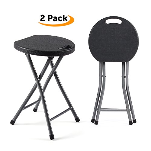 TAVR Folding Stool,Set of Two,Light Weight Metal and Plastic Folding Stool,400lb Capacity,2-Pack Black,CH1001 by TAVR Furniture