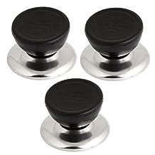 Heatproof Cookware Pot Lid Knobs Handles 3 Pcs Black Silver Tone