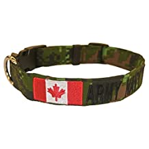 """Custom 1"""" Dog Collars & Leashes with 1 Logo. OVER 35 Military/Camo/Solid Fabrics to choose! Plastic & Metal Buckles, Canadian Digital, XL, Metal Hardware"""