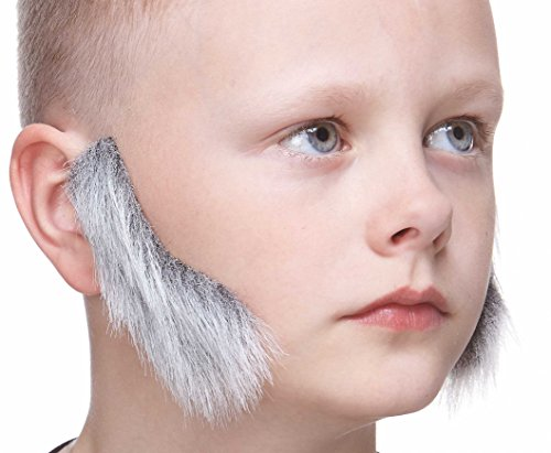 Mustaches Fake Sideburns, Self Adhesive, Novelty, Small False Mutton Chops, Facial Hair, Costume Accessory for Kids, Gray with White Color]()
