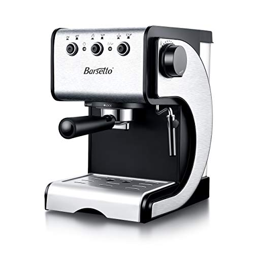 Espresso Coffee Maker Barsetto Coffee Machine 15 Bar Stainless Steel Coffee Brewer with Independent Milk Frother for Cappuccino, Latte and Mocha (silver&black)