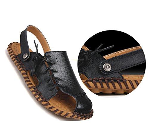 印象寄託下にメンズレザーサンダルファッション汗吸汗通気性二つの摩耗スリッパサンダル夏のアウトドアハイキング登山カジュアルな運転靴のサンダルZHANGM