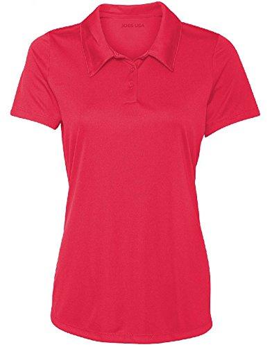 Joe's USA Women's Dri-Equip Golf Polo Shirts 3-Button Golf (3 Button Golf Shirt)