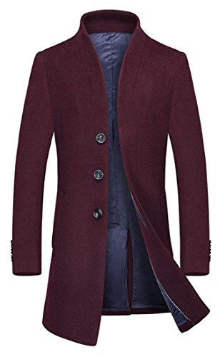 Pandapang Mens Single-Breasted Wool Overcoat Slim Winter Casual Peacoat Wine Red XL by Pandapang