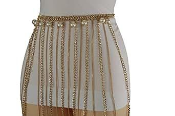 TFJ Women Fashion Belt Gold Metal Chain Long Fringes Hip Waist Pearl Beads Plus M L XL