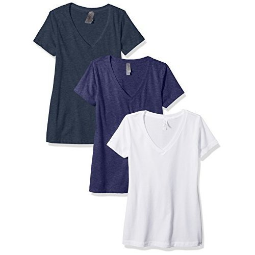 Clementine Apparel Women's Petite Plus Deep V Neck Tee (Pack of 3), White/Storm/Midnight Navy, - Short Sleeve Girls Dip