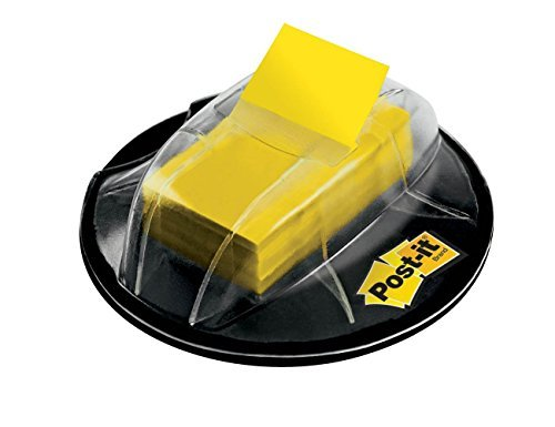 Post-it Flags, Yellow, 1-Inch wide, 200/Desk Grip Dispenser (680-HVYW), 2-PACK