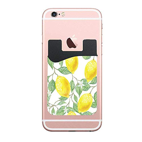 Yellow Lemon with Green Leaf 2 Pack Phone Card Holder Stretchy Wallet Pocket Credit Card ID Case Pouch Sleeve 3M Adhesive Sticker on iPhone Samsung Galaxy Android Smartphones