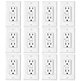 [12 Pack] BESTTEN 15A GFCI Outlets, Slim, Non-Tamper-Resistant GFI Duplex Receptacles with LED Indicator, Auto-Test Ground Fault Circuit Interrupter with Decor Wall Plates, UL Listed, White, USG5