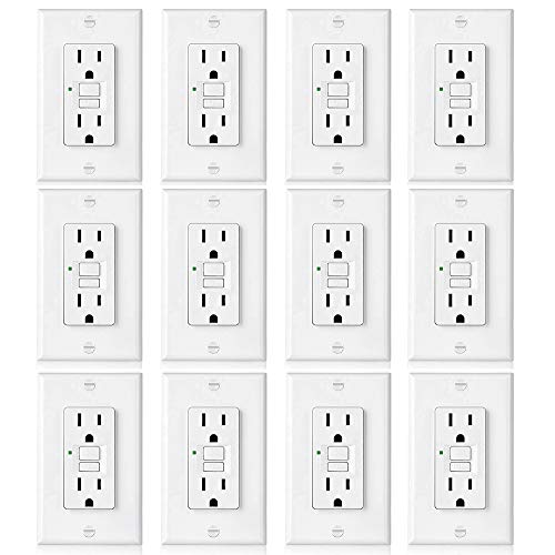 ([12 Pack] BESTTEN 15A GFCI Outlets, Slim, Non-Tamper-Resistant GFI Duplex Receptacles with LED Indicator, Auto-Test Ground Fault Circuit Interrupter with Decor Wall Plates, UL Listed, White, USG5)