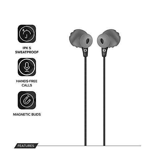 JBL Endurance Run by Harman, Sports Wired Earphones with Mic, Sweatproof, Flexsoft eartips, Magnetic Earbuds, Fliphook & TwistLock Technology with Voice Assistant Support for Mobiles (Black)