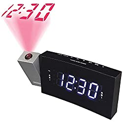 Jensen JCR-238BB Alarm Clock FM Radio USB Charging & Time Projection, Battery Backup, Dual Alarm, 1.2-Inch LED Display for Smartphones & Tablets, (White LED)