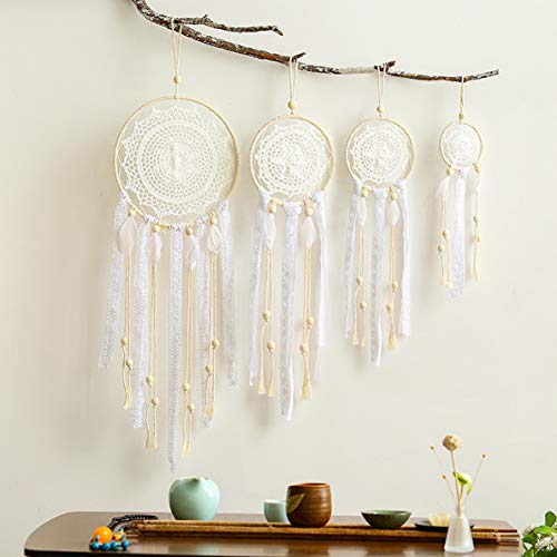Gatton 4 PCS Boho Handmade White Feather Native Macrame Dream Catchers,ding Party Favor,Nursery Decor, Shower,Birthday Gift,Bedroom Wall Ornaments Car Hanging Decoration | Model WDDNG - 1114 |