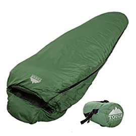 "Tough Outdoors All Season Hooded XL Sleeping Bag with Compression Sack - Perfect Compression Sleeping Bag for Backpacking & Camping (Summer Solstice: 60F+ Temperature Rating) 2 REST ASSURED. Immerse in a multitude of stars in the night sky! Then rest where you hear nothing but the winter wind. Now that's a 5 (billion or more!) star accommodation. Finally, get lost in a warmth that will leave you sleeping way past your alarm clock. Be warned though, the snooze button will be ignored with this sleeping bag... and waking up at lunch. FIT FOR A KING. Pharaohs boast of grand things. Look no further than the pyramids. Don't believe us? Let's not forget those big and tall coffins they fill when Osiris calls them. However, with this mummy sleeping bag, you get 6'6 ""fit for a king"" size. *Ceremonial wrapping cloth not included, of course*. Go ahead, sleep (and wake up) like royalty. YOU'VE BEEN ""WARMED"". This bag is perfect for summer camping with a temperature rating of 60F+."