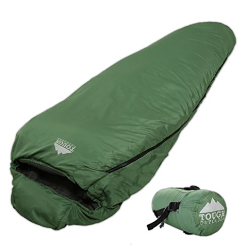 Warm Weather XL Mummy Sleeping Bag - Lightweight, Compact - 3 Season Summer Bag with Compression Sack for Camping, Backpacking & Hiking. Comfort Temperature Range of 60°F+. Fits Adults up to 6'6