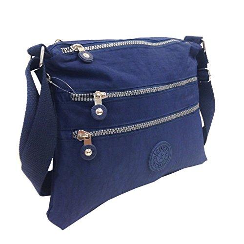 Messenger Lightweight Pocket Body Shoulder Fabric Navy Zip Cross Multiple Bag Ladies khaki wItq8TxXAw