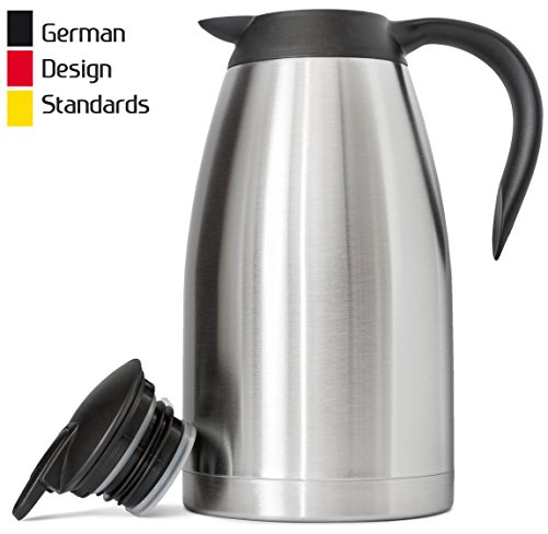 Clean Thermal Carafe - [47% OFF - Ends Aug 12] New 68 Oz (2 Liter) German-Designed Thermal Coffee Carafe/Stainless Steel Insulated Double Wall/BPA-Free Vacuum Thermos/Up to 12-Hrs Heat & 24-Hrs Cold Retention