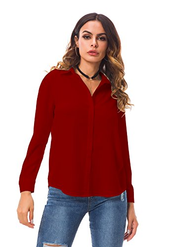 53558bc6e CantonWalker Women's Long Sleeve Shirt Loose Casual Professional Button  Blouse for Women 5005