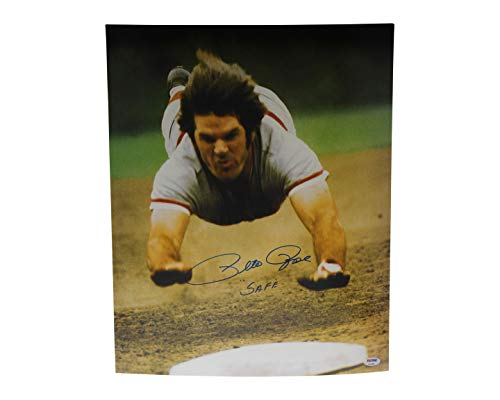 Pete Rose Autographed Signed 16x20 Photo Cincinnati Reds Safe - PSA/DNA - Hand Signed 16x20 Mlb Photograph
