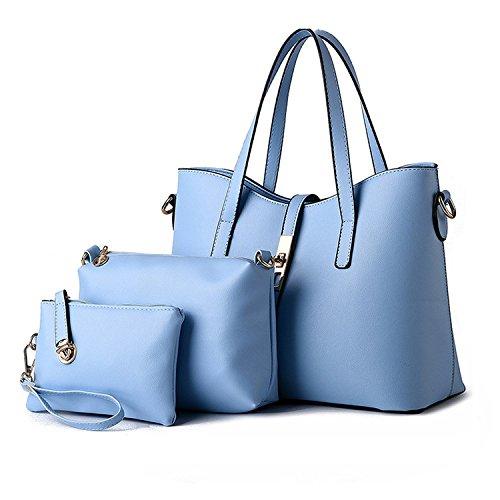 for Leather 3 Set LightBlue Tote Handbag Piece Wallet Shoulder PU Bag Set Bag Women New gZwq47w