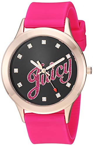 Juicy Couture Black Label Women's  Swarovski Crystal Accented Rose Gold-Tone and Hot Pink Silicone Strap Watch