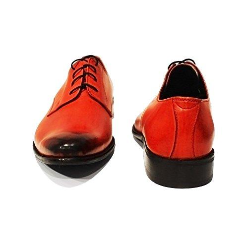 PeppeShoes Modello Bliko - Handmade Italiennes Cuir Pour des Hommes Rouge Chaussures Oxfords - Cuir de Vachette Cuir Peint à la Main - Lacer