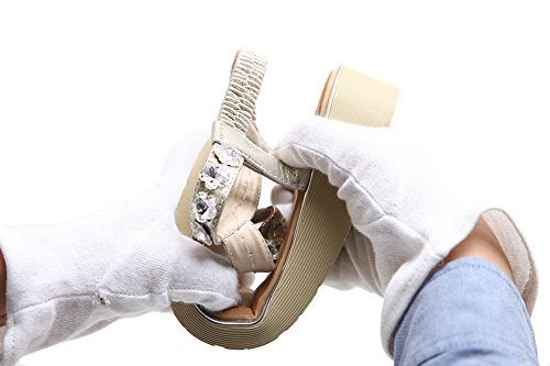 Platform For Thong Gold AGOWOO Wedge Jeweled Women Bling Sandals wRgqBfg