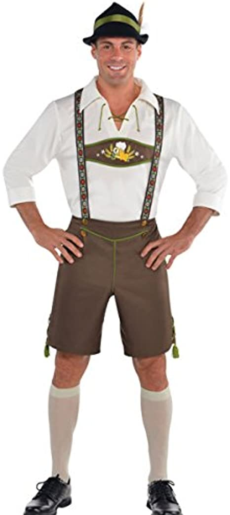 Mens Bavarian Mr Oktoberfest Fancy Dress German Beer Suede Lederhosen Outfit